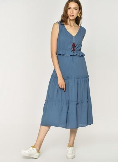 Loves You V Yaka %100 Cotton Krinkıl Robadan Elbise Saks